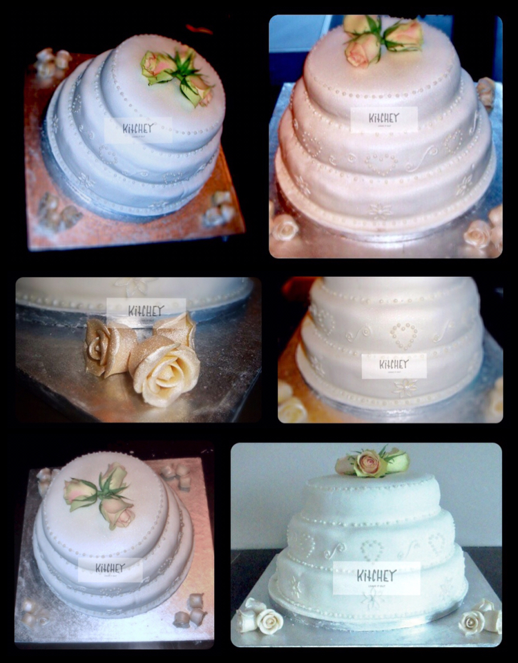 Roses & Pearls Wedding Cake