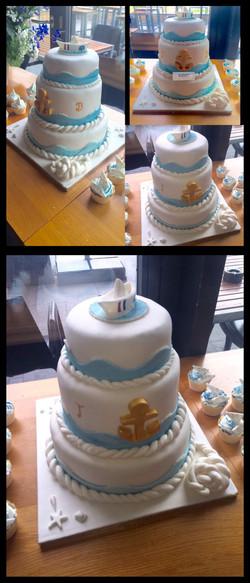 Nautical Wedding Cake & Cupcakes