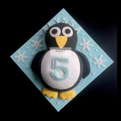 Penguin & Snowflake Sparkle Cake