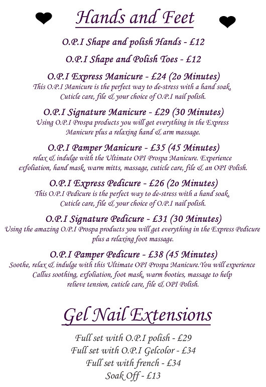 O.P.I nail treatments, Gel Nails, MAnicure and pedicure