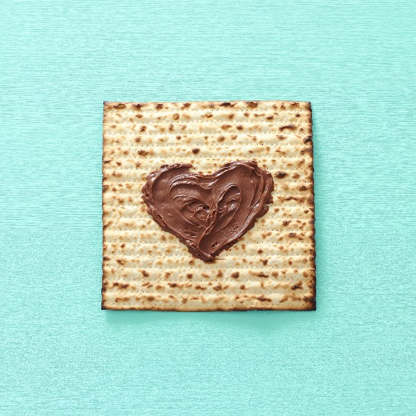 Matza Bread with Chocolate Heart