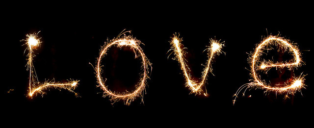 LOVE spelled out in sparkles