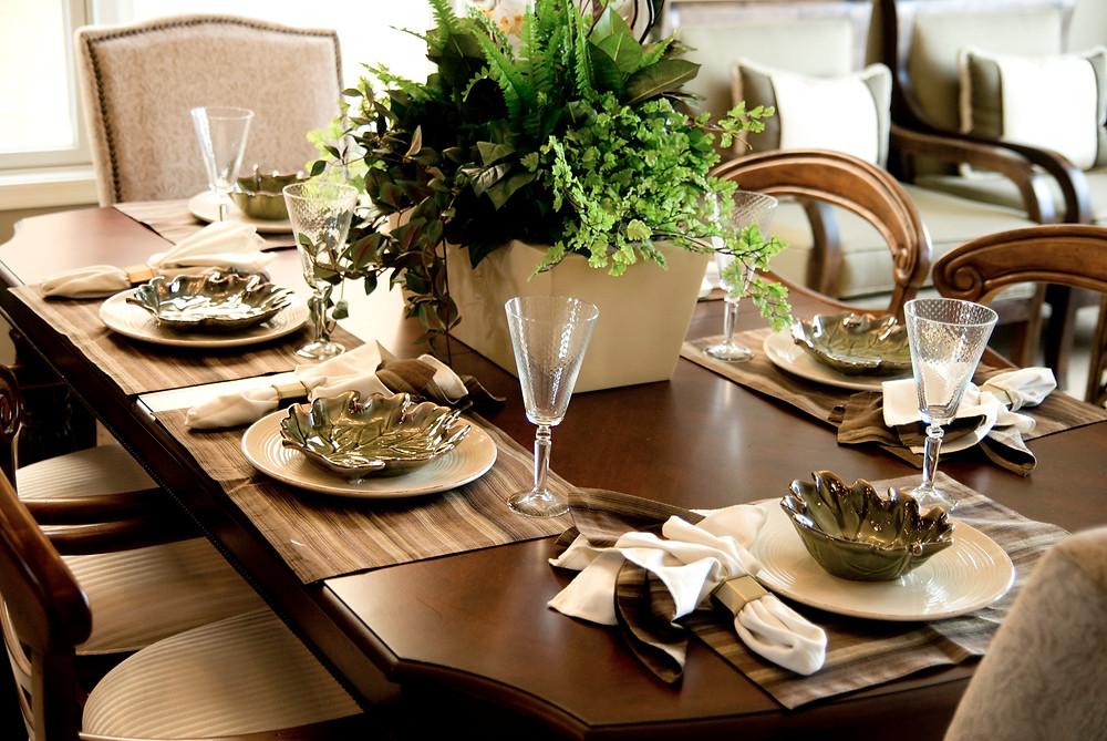 Elegantly set dinner table