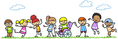 A colorful, playful drawing of eight small children with different abilities.