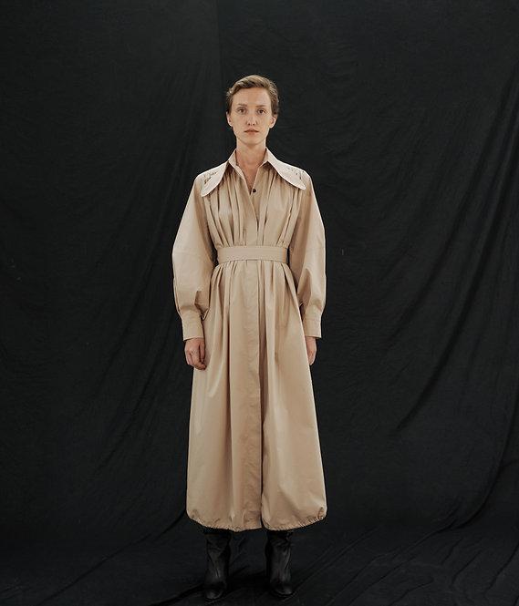 OVER LONG GATHERED SHIRT DRESS