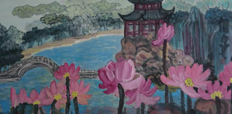 The Pond With Lotus 2017Y 69*69cm
