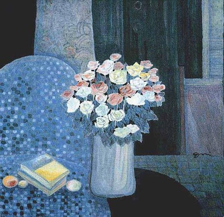 The Still Life With Fruit And Roses 1999Y 107*108cm