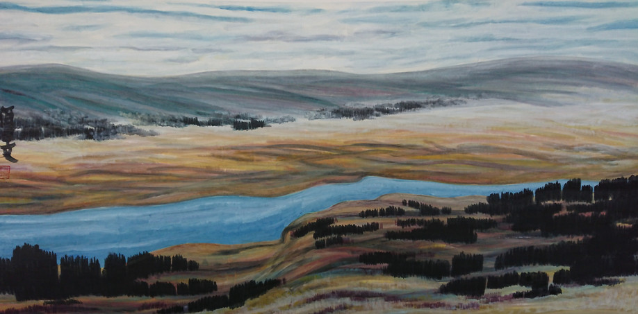 The Riverside of Yongding 69*138cm