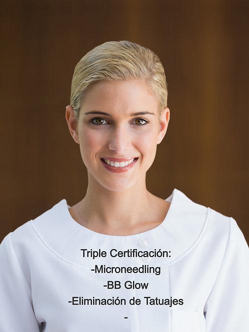 Pago Completo para Triple Certificación: Microneedl/BB Glow/Eliminación Tatuajes