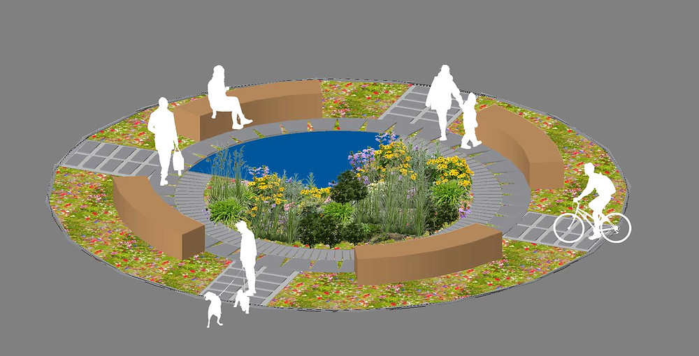 Suggested design for a modern sustainable rain garden for RHS Hampton Court 2018.