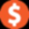 icon dollar in a orange circle