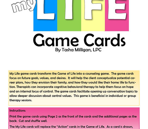 My Life Cards To Play With The Game Of Life