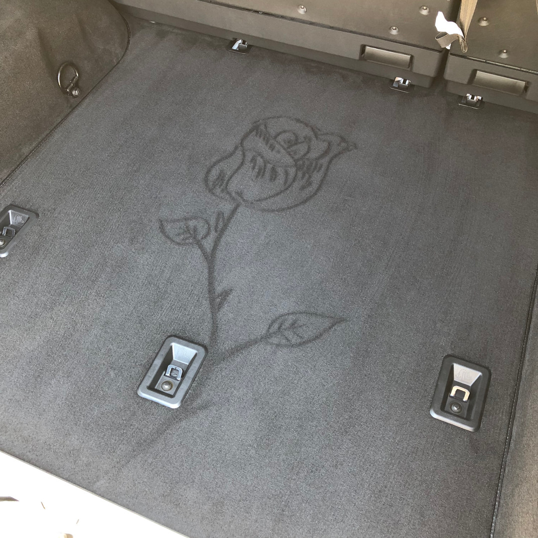 Carpet Art in the trunk of Mercedes G63 AMG