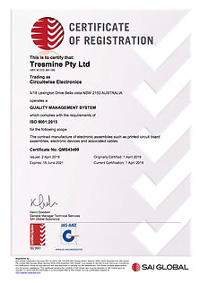 An ISO 9001 quality certificate of registration