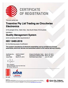 An ISO 13485 registration certificate