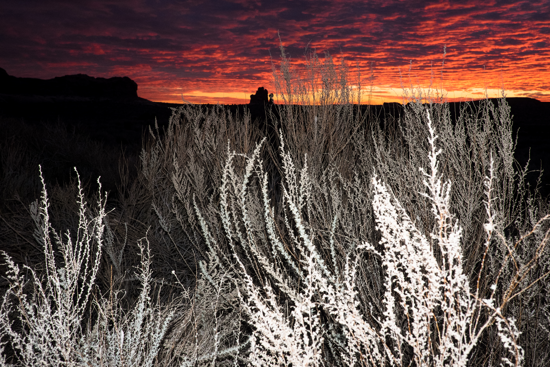 Moab Utah sunset arches sage brush