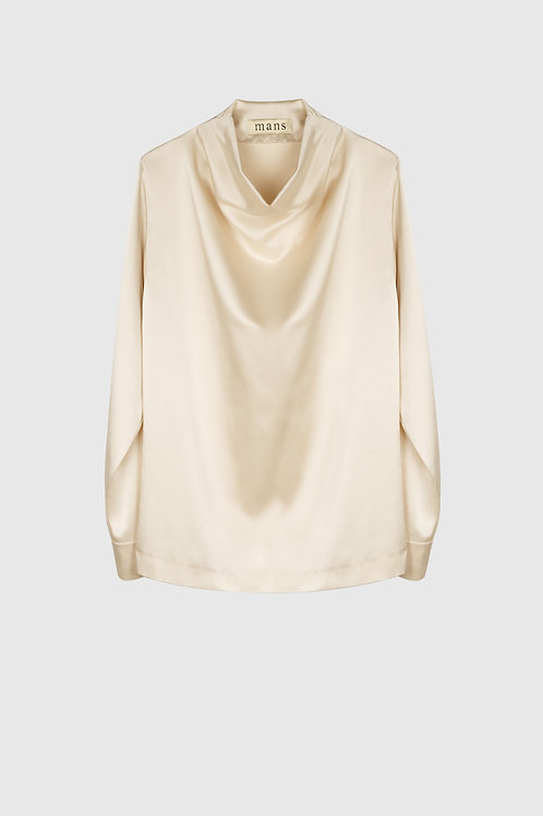 DRAPED NECK BLOUSE
