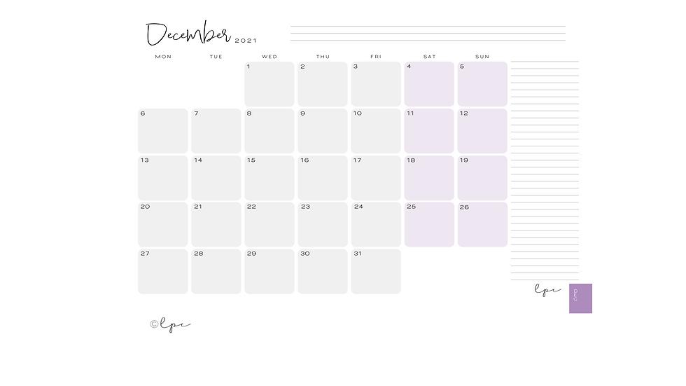 2021 Monthly Desk Planner Pad - Purple Power