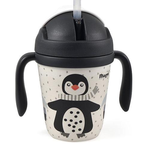Tasse pingouin en bambou avec paille
