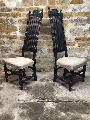 Pair of High Back Oak Chairs c17th