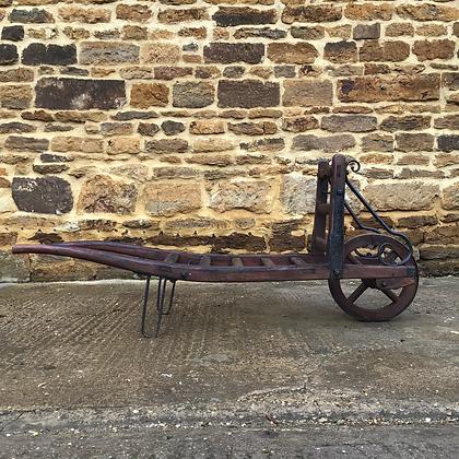 Early c20th Single Wheel Wooden Porters Trolley