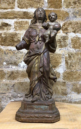Carved Wood Figure of Charity