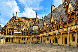 Iconic courtyard of Hotel Dieu, Beaune,