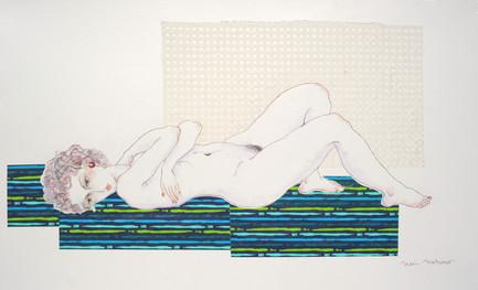 《想ひ》2016年 スクラッチ、コラージュ 89.4 × 145.5 cm