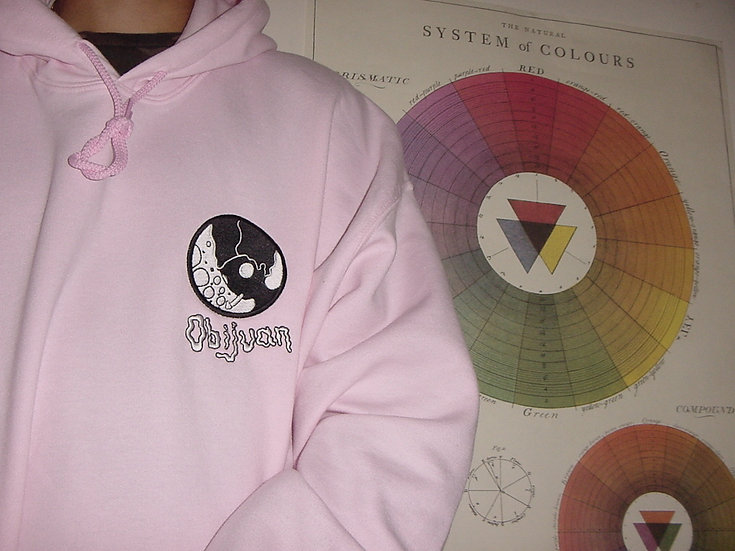 obi logo // embroidered hoodie (baby pink)