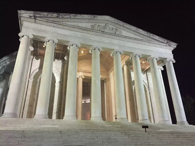 Jefferson Memorial facade at night