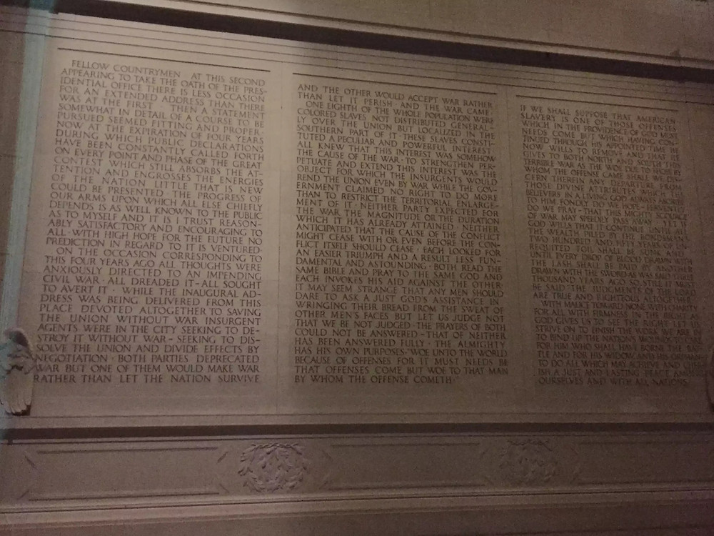 Inscription of Lincoln's Second Inaugural Address