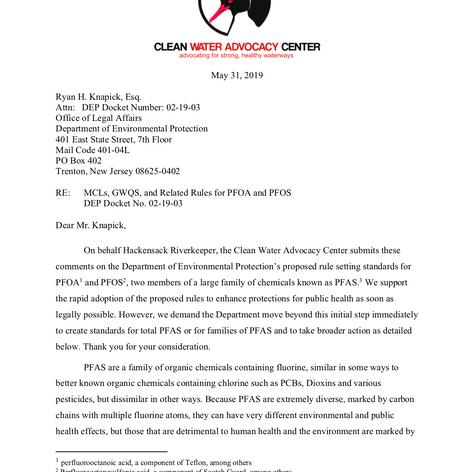 New Jersey PFAS Regulations Comments
