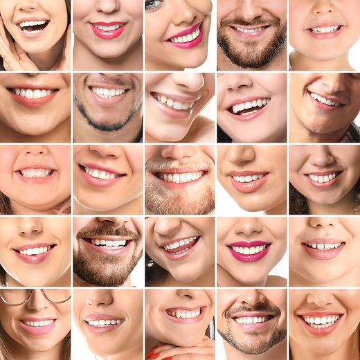 Collage of photos with different smiling