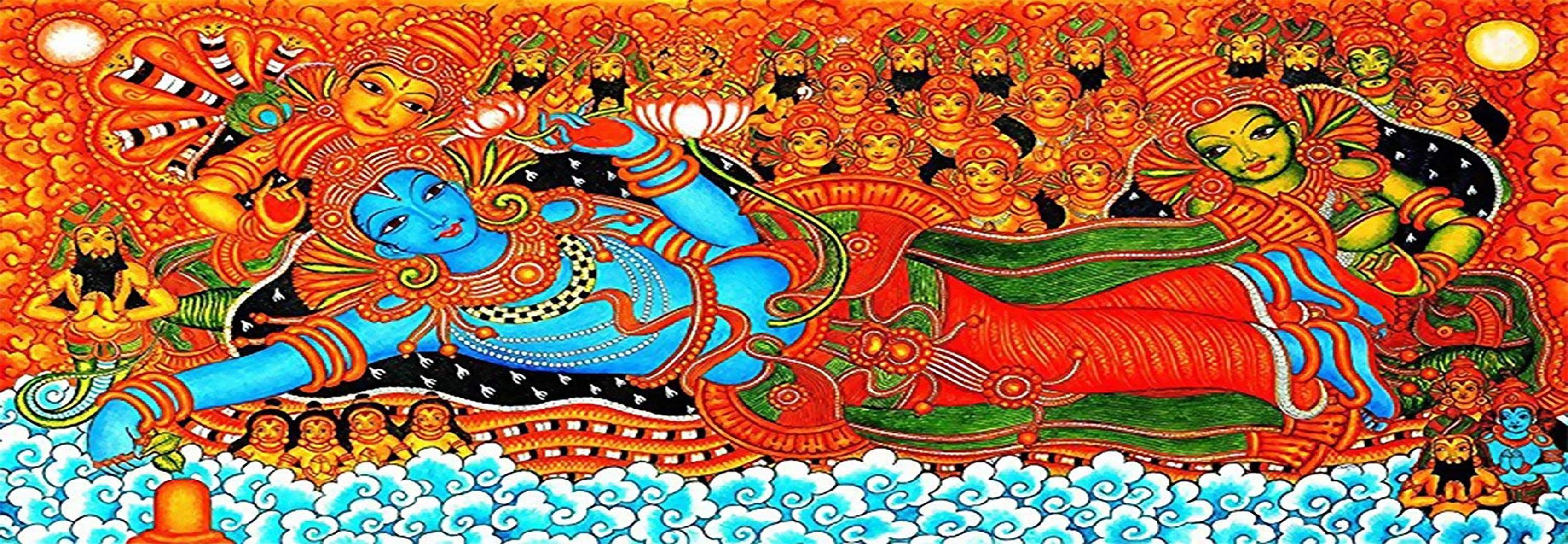 3002N00025 - Kerala Mural- Vishnu Avatar