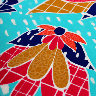 Screen printed fabric with transparent foil details
