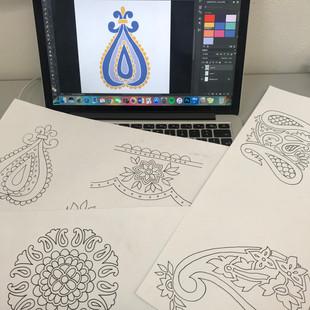 Initial drawings and digital motifs