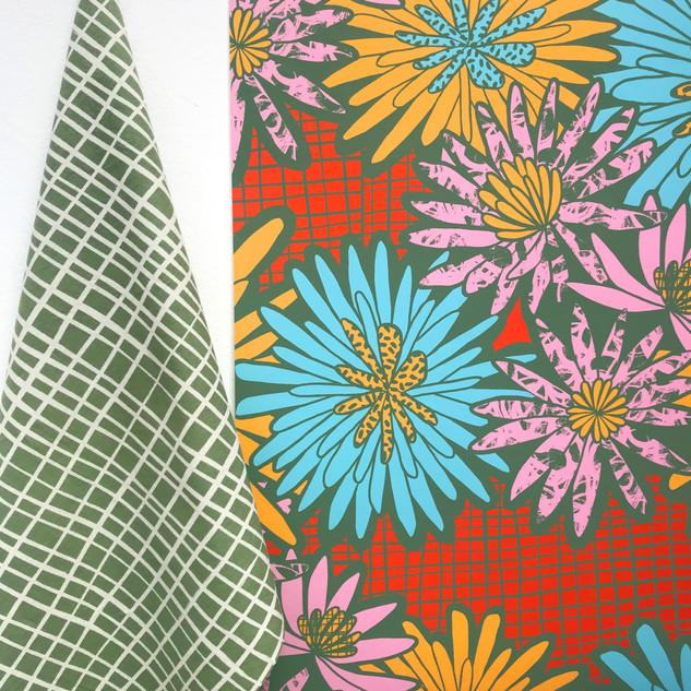 Screen printed fabric and wallpaper