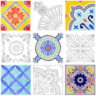 Initial drawings, paintings and digital tile motifs