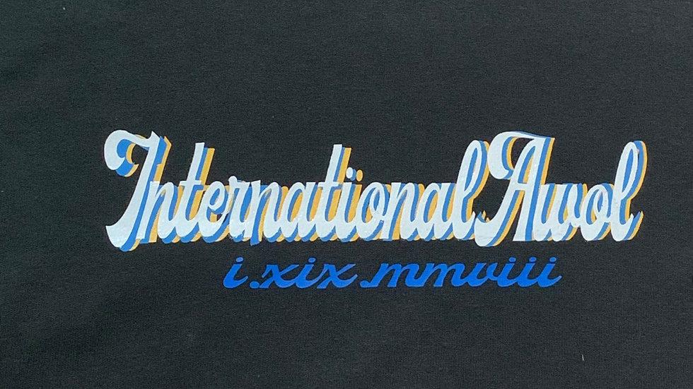 Black international AWoL Yellow/Blue Script Tee