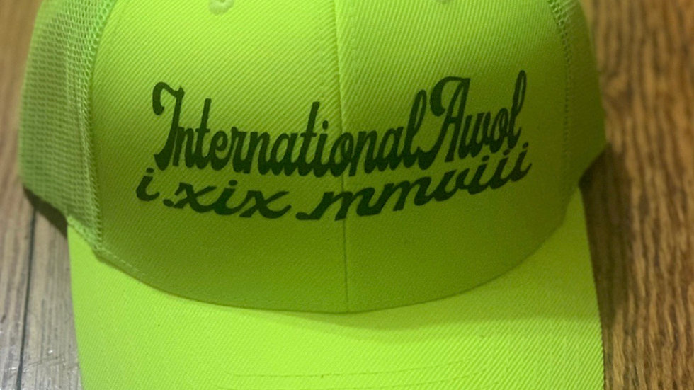 Neon Yellow international AWoL trucker hat