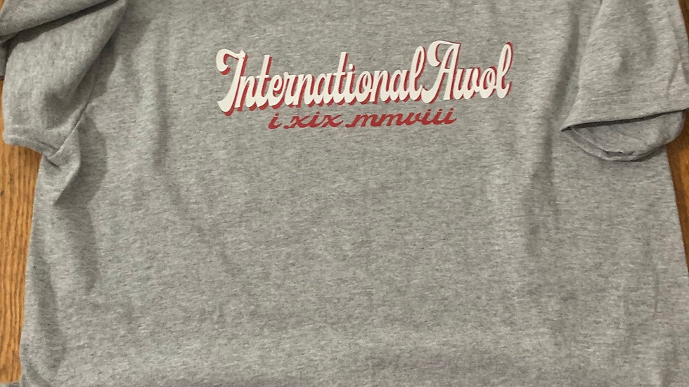 The Red/white international AWoL script Tee in Grey