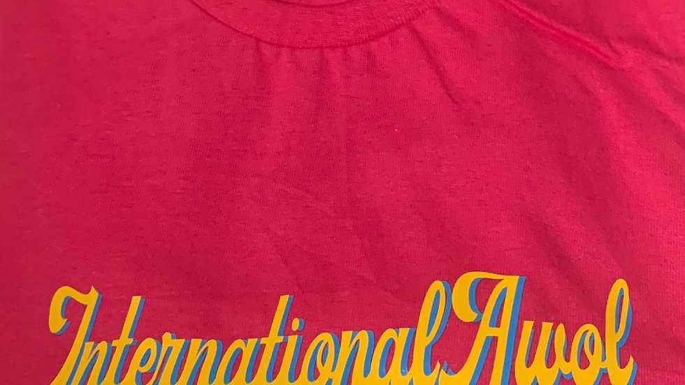 Pink International AWoL Yellow/blue Script Tee