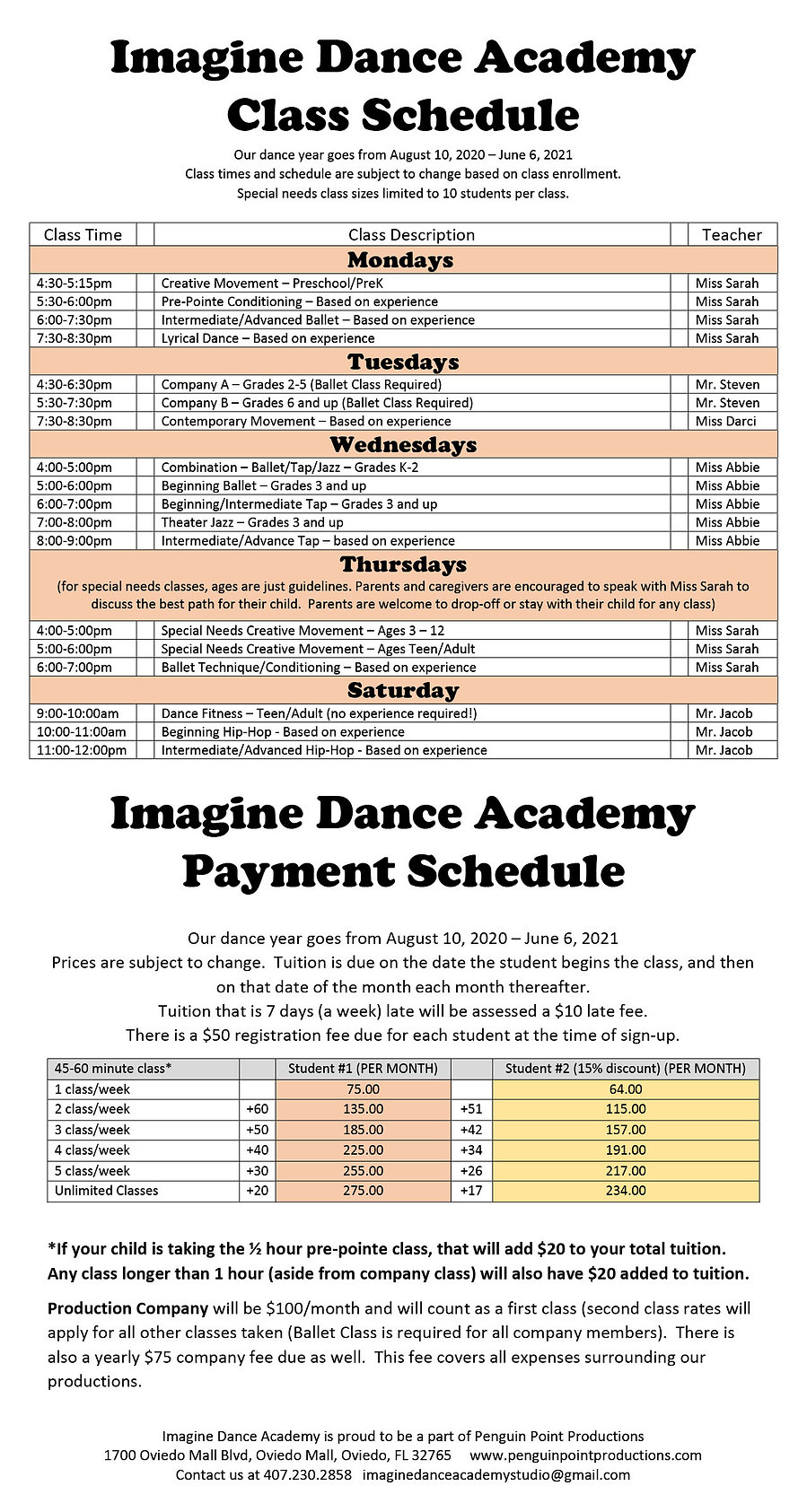 Imagine Dance Schedule and Tuition Info
