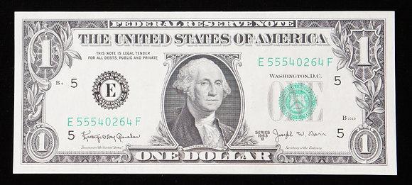 $1 Bill Signed Barr