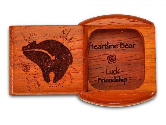 """2"""" Flat Wide Padauk Secret Box - Heartline Bear - Luck - Friendship"""