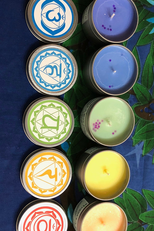 Chakra Soy Candles w/Crystals