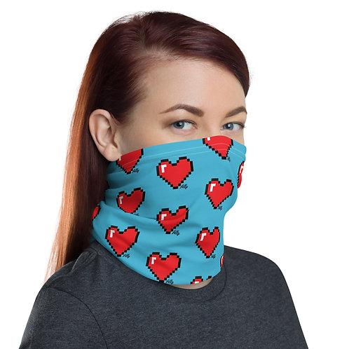 8-bit Heart Face Covering Neck Gaiter