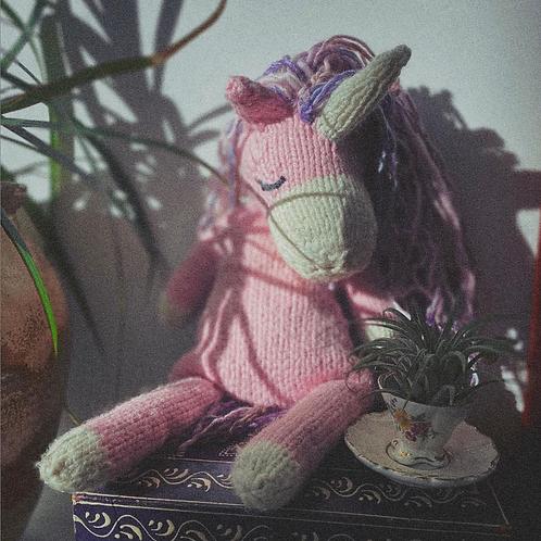 Organic Hand-knit Stuffed Unicorn