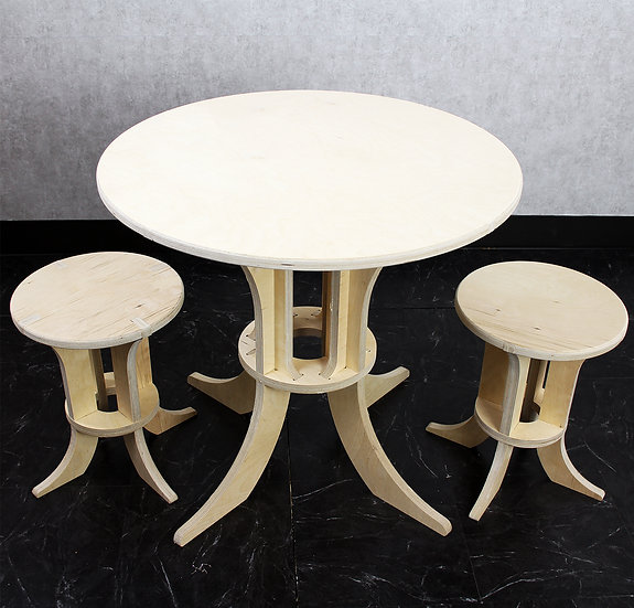 Kids2D3D Modern Table and Stool Set
