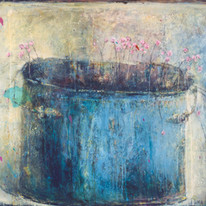 "Margaritki in a Blue Pot (35""x52"")"